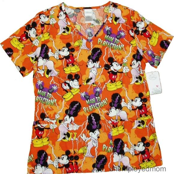 c5402343f9c Disney Tops | Halloween Scrub Top Mickey Minnie Mouse Bride Nwt ...
